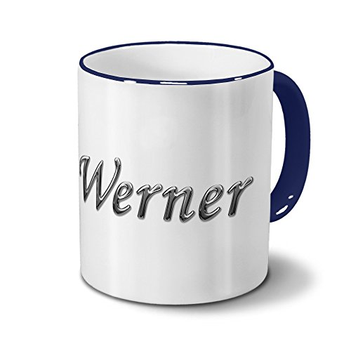 Tasse mit Namen Werner - Motiv Chrom-Schriftzug - Namenstasse, Kaffeebecher, Mug, Becher, Kaffeetasse - Farbe Blau