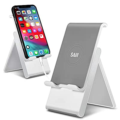 Adjustable Cell Phone Stand, SAIJI Phone Stand for Desk, Tablet Stand, Foldable Desktop Phone Holder Dock Anti-Scratch Compatible for iPad Tablet Smartphones 11 Pro- Gray by SAIJI INC