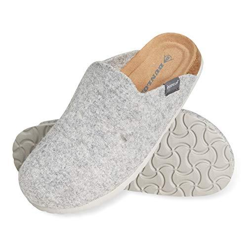 Dunlop Ciabatte Donna, Pantofole Invernali Feltro con Soletta Memory Foam, Ciabatta Antiscivolo per Casa, Comode Babbucce per Ragazza, Idea Regalo Compleanno (Grigio, Numeric_39)