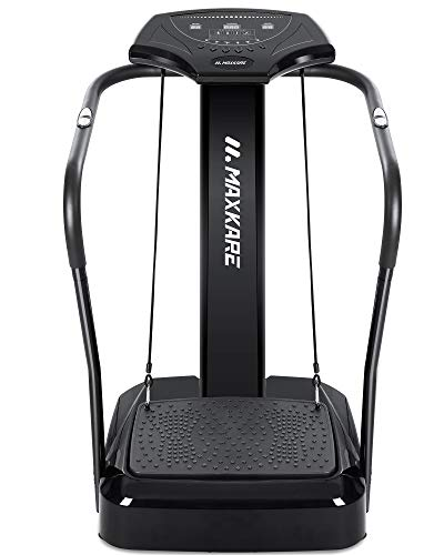 MaxKare Vibration Platform Machine Full Body Vibration Plate Exercise Machine with 2 Loop Resistance Bands/10 Modes/99 Speeds/LCD Display/Heart Rate Monitor/Fitness Workout Vibration Platform