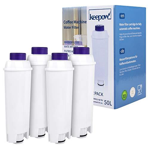 Juego de 4 Filtro Agua antical, Filtro Compatible para Delonghi Para Cafeteras, Cafetera Superautomáticas, Compatible modelos ECAM / ETAM,DLSC002, SER3017 y 5513292811 2 meses duración de KEEPOW