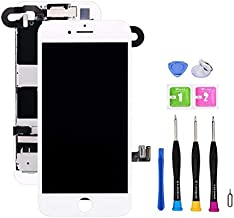 Screen Replacement Compatible with iPhone 8 4.7 inch Full Assembly - LCD 3D Touch Display Digitizer with Sensors and Front Camera, Fit Compatible with iPhone 8 4.7 inch (White)
