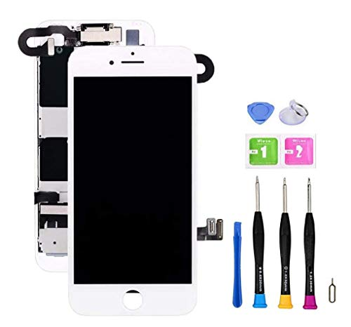 Screen Replacement Compatible with iPhone 8 Plus Full Assembly - LCD 3D Touch Display Digitizer with Sensors and Front Camera, Fit Compatible with iPhone 8 Plus (White)
