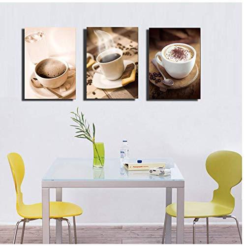 xukep Kaffeetasse Malerei Wandkunst Bilder Küche Raumdekor Café Leinwand Moderne Gemälde Poster 50x70 cm Kein Rahmen