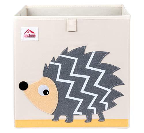 Anstore Aufbewahrungsbox Kinder 33x33x33cm, Spielzeugkiste für Kinderzimmer, Cartoon Faltbar Aufbewahrungswürfel, Korb zur Aufbewahrung von Kinder Spielsachen(Igel)