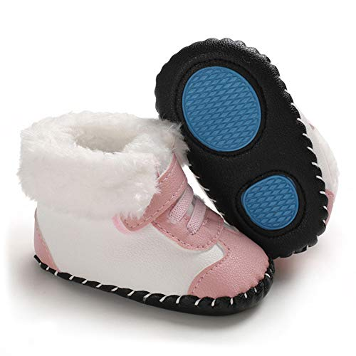 CLOUCKY Infant Baby Girls Cute Flower Booties Soft Warm Winter Snow Boots Gray, 0-6 Months
