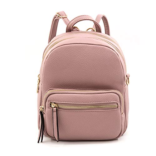 EMPERIA Klara Faux Leather Mini Fashion 3 Way Carry Backpack Casual Lightweight Rucksack Daypack for Women Mauve