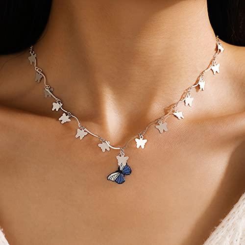 Collar de mariposa encantadora collar de la mariposa para las mujeres de la cadena de suéter de la cadena de la joyería ajustable de la aleación de color de la aleación de color de la cadena