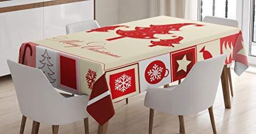 ABAKUHAUS Navidad Mantele, Los árboles de Caramelo Estrellas, Resistente al Agua Apto Uso Exterior e Interior No Destiñen, 140 x 200 cm, Bermellón Rosa pálido