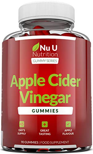 Apple Cider Vinegar Gummies Enhanced with Ginger - 90 500mg ACV Gummies with The Mother - High Strength Apple Cider Vinegar Gummies not Capsules or Tablets - Made in The EU by Nu U Nutrition