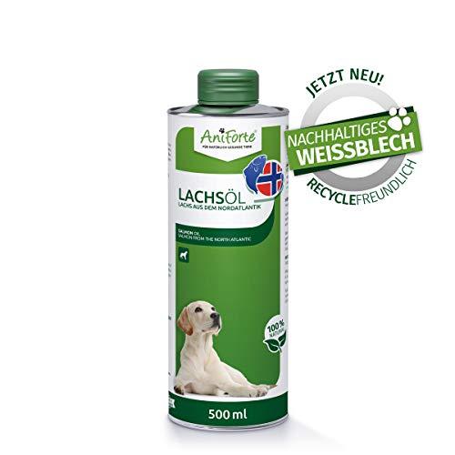 AniForte Lachsöl für Hunde 500 ml - Kaltgepresst mit Omega 3 und Omega 6 Fettsäuren, Premium Fischöl für Welpen, Adult, Senior, Ohne Zusätze, Barf Ergänzung, Recyclebare Verpackung ohne BPA