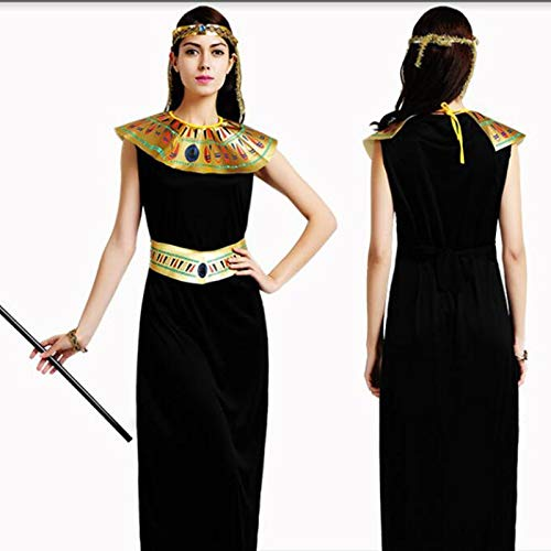 QYLOZ Disfraz de Cosplay de Halloween, Vestido Maxi Negro Reina ...