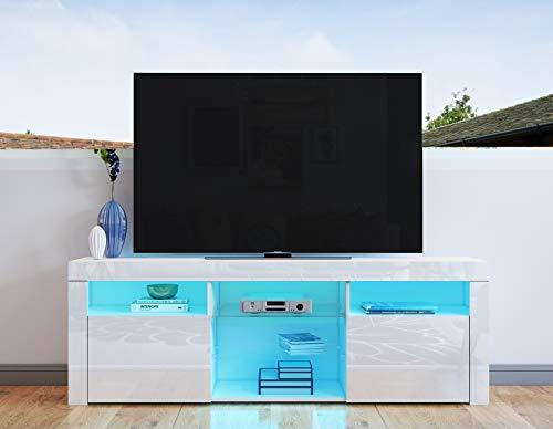 UNDRANDED TV Lowboard Fernsehschrank 2 Türen Hochglanz Front Fernsehtisch Sideboard mit LED Beleuchtung 160 x 35 x 60 cm (Weiß)