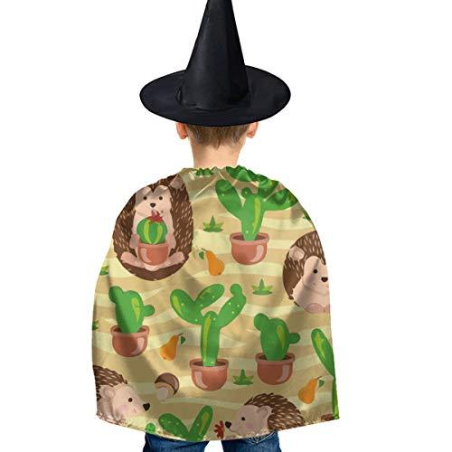 Amoyuan Unisex Kids Kerst Halloween Heks Mantel Met Hoed Egel Cactus Noodzaak Knuffel Wizard Cape Fancy Jurk