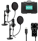 Movo Kit de micrófono de grabación de Podcast para Smartphone – Paquete de 2 micrófonos de Condensador, 2 Soportes, Interfaz XLR de 2 Canales con Salida Lightning – Compatible con iPhone, iPad