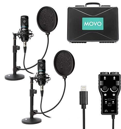 Movo Kit de micrófono de grabación de Podcast para Smartphone – Paquete de 2 micrófonos de Condensador, 2 Soportes, Interfaz XLR de 2 Canales con Salida Lightning – Compatible con...