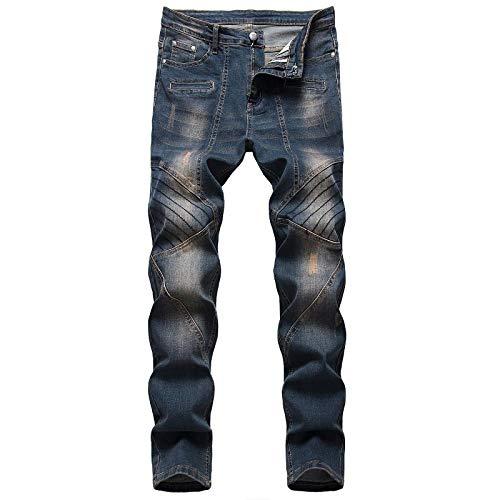WQZYY&ASDCD Jeans Vaqueros Pantalon Denim Hole Jeans Rasgados para Hombres Hip Hop Punk Streetwear 36Winch 9293