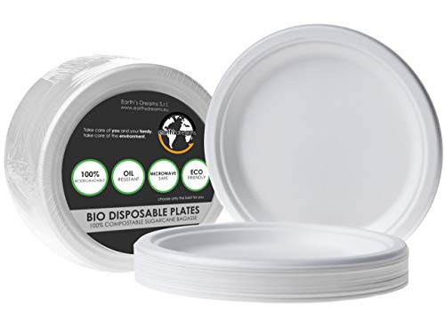 100% Compostable Paper Plates Heavy Duty 9 Inch [100 Pack] Eco-Friendly Biodegradable Plates, White Sugarcane Bagasse Microwave Plates, Disposable Plates for Party and All Occasions by Earth
