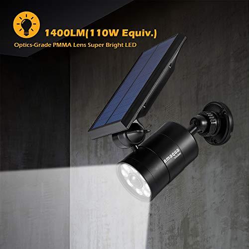 Solar Motion Lights Outdoor 9-Watt(110W Equ.) 1400-Lumen Aluminum Solar Spotlights Flood Security for Garden Driveway Garages Doorways Decks and Porches, 2-Year 100% FREE Warranty Guarantee(Black)