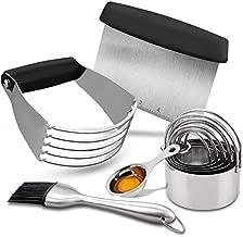 Pastry Cutter Set, EAGMAK Pastry Scraper and Dough Blender, Stainless Steel Dough Cutter Scraper Blender Set, Professional Heavy Duty Baking Dough Tools for Home Kitchen - Black