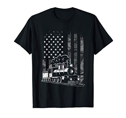 Vintage Steam Train Camo USA American Flag Railroad Gift T-Shirt