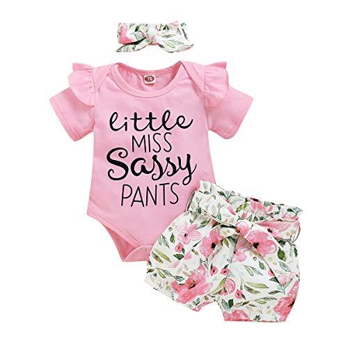 Camidy Conjunto de 3 Piezas de Lazo Inglés para Niña Mono Estampado + Pantalones Cortos Florales + Diadema Rosa para 3-6 M