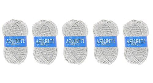 les colis noirs lcn Lot 5 Pelote de Laine Azurite 100% Acrylique Tricot Crochet Tricoter - Gris - 3074
