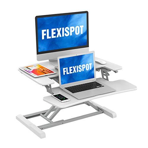 FLEXISPOT M17 Tavolino Pieghevole per PC Portatile Scrivania in Piedi Altezza Regolabile in Acciaio Postazione da Lavoro con Vassoio per Tastiera (Bianco, 72CM)