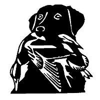 13.6 * 14.6CMダックハントラブラドール犬のカーステッカークリエイティブビニールデカールカースタイリングトラックアクセサリーブラック/シルバーS1-0972 (Color Name : Black)