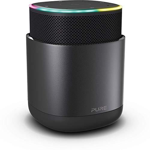 Pure DiscovR Altavoces Bluetooth con Alexa Incorporado, Multiroom, Carga rápida, Sonido de 360 Grados, 15 Horas de duración de la batería, Radio por Internet y privacidad Mejorada Grafito/Negro