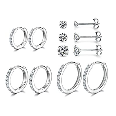 Sterling Silver Small Hoop Earrings | Sterling Silver Stud Earrings for Women - 6 Pairs Hypoallergenic Tiny Cubic Zirconia Stud Earrings Set & Cartilage Earring Hoops for Girl