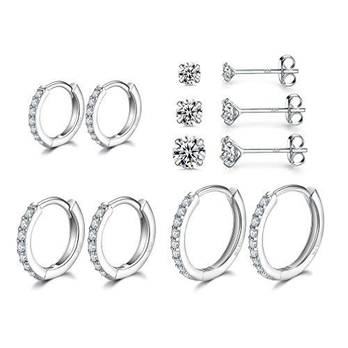 Sterling Silver Small Hoop Earrings | Sterling Silver Stud Earrings for Women - 6 Pairs Hypoallergenic Tiny Cubic Zirconia Stud Earrings Set & Cartilage Earring Hoops for Girl