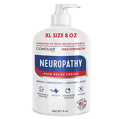 Conquer Pain - Neuropathy Nerve Pain Relief Cream 8oz - Max Strength Relief for Feet, Hands, Legs, Toes, Arthritis - Arnica, Aloe, Hemp, Menthol - Scientifically Made for Fast-Acting Anti-Inflammatory