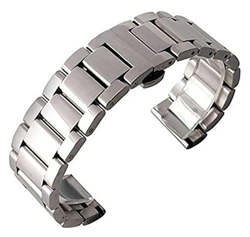 WSYGHP 18 mm 20 mm 22 mm Firma de Plata Reloj de Acero Pulsera Pulsera Correa de Reloj para Hombres Mujeres con Hebilla de despliegue + 2 Bares de Primavera Reloj Correa Correa Oro Rosa