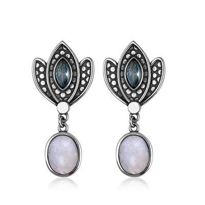 DJMJHG Pendientes con Forma de Corona con Piedra Lunar, Turquesa, Azul Arena, Piedras Preciosas para Mujer, joyería de Plata de Ley 925, Regalos2