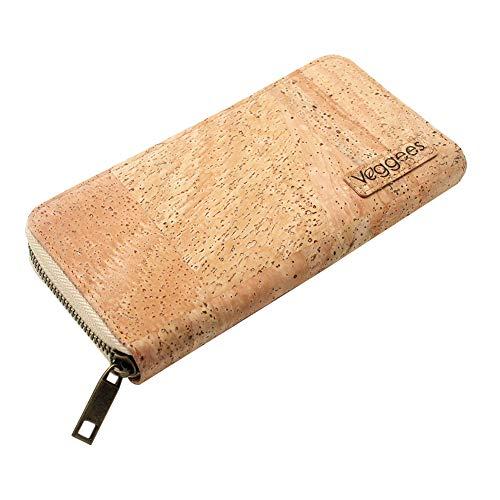 Veggees ® Veganes Portemonnaie aus Kork, Groß, natürlich, Zero Waste, Münzfach, RFID-Schutz Geldbörse für Damen, Portmonee, nachhaltig