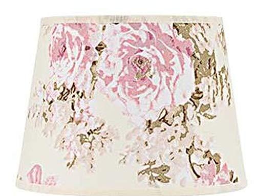 Kleiner Lampenschirm Stoff Rosa Weiß Blumen Motiv für E14 Tischleuchte Nachttischlampe Schirm Textil