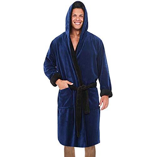 KEERADS Robe de Chambre de pour Hommes   Robe de Bain en Polaire Super Douce pour Hommes   Vêtements d'intérieur et de Nuit en Peluche à Capuche
