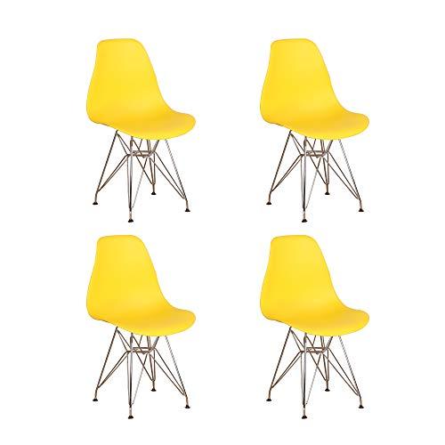 Juego de 4 sillas de comedor con patas de metal cromadas de estilo industrial, cocina, restaurante (amarillo)