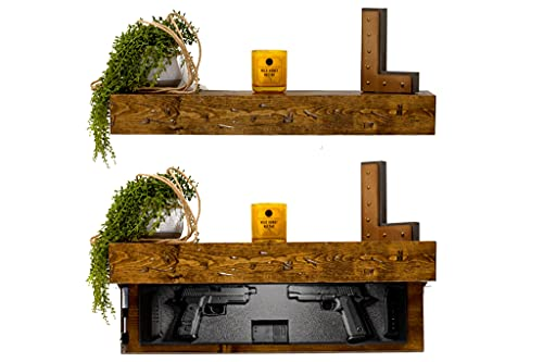 "Tactical Traps Liberty 35s Gun Shelf with Trap Door | Handgun Storage with RFID Lock | Secure & Safe Hidden Gun Compartment | 30"" x 8"" x 3 ¾"" Country Pine"