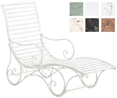 CLP Gartenliege Amiens I Stabile Sonnenliege Aus Eisen I Liege Mit Kunstvollen Verzierungen, Farbe:antik weiß
