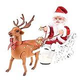 NiceEverday 1 Juego de Papá Noel de Las Decoraciones Santa en el Trineo con el Reno del Ornamento de Vacaciones con Pilas andadura Musical de Mesa Decoración Juguetes