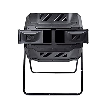 Rotary Garden Tumbler Composter-Easy to turn Barrel, Upgraded Design, Space Efficient, Black Color, 160L / 37-gallon Capacity With 2 Compartments by Smarssen