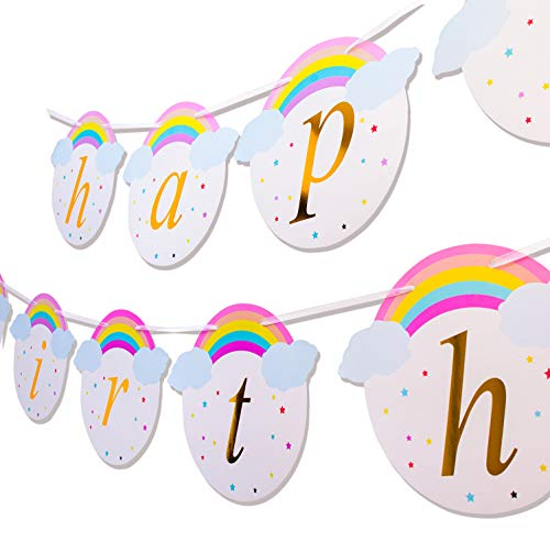 Keira Prince Happy Birthday Banner, Magical Rainbow and Unicorn Party Supplies