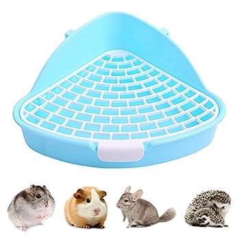 Kuoser Toilettes pour animaux de petite taille avec crochet, triangle anti-pulvérisation pour hamster, chinchilla, cochon d'Inde, furet