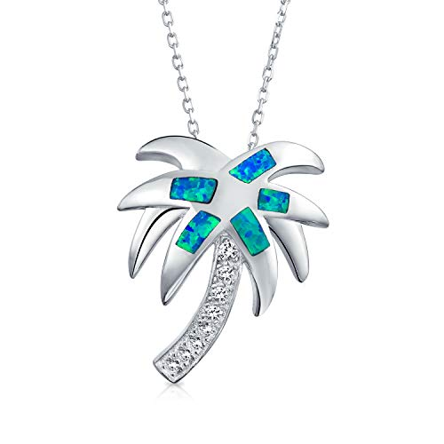 Bling Jewelry Nautical Tropical Beach Blue Inlayed Created Opal Palm Tree Pendant Necklace for Women for Teen 925 Sterling Silver