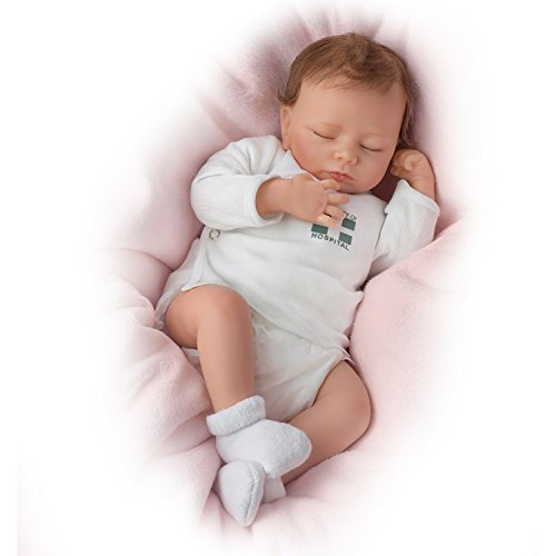 The Ashton - Drake Galleries Ashley Breathes with Hand-Rooted Hair - So Truly Real Lifelike, Interactive & Realistic Newborn Baby Doll 17-inches