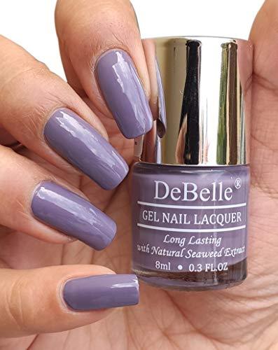 DeBelle Gel Nail Polish, Glossy Finish, Viola Dew (Dark Lilac), 8 ml