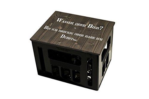ultiMade Bierkastensitz Holz Sitzauflage für Bierkiste Geschenkidee Geschenk für Männer Biergeschenk Hocker Holz: WASSER ODER BIER