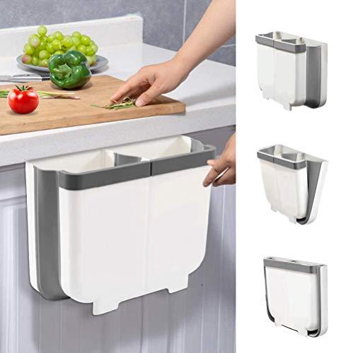Aoweika Cubos de Basura Colgante 13 L para Cocina, Cubo de Basura Plegable con Divisor Extraíble y Guía de Fijación, Facilite la Separación de Residuos para el Reciclaje y Fácil de Limpiar